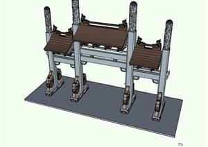 牌坊详细素材设计SU(草图大师)模型