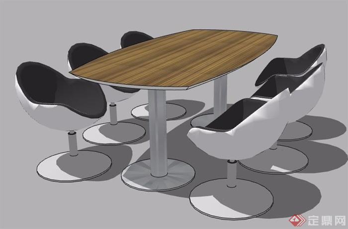 现代简约6人座桌椅组合su模型