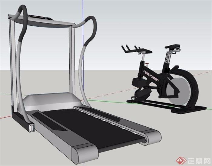 跑步机健身器材su模型素材