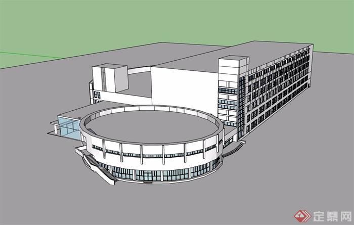某大学图书馆多层详细建筑设计su模型