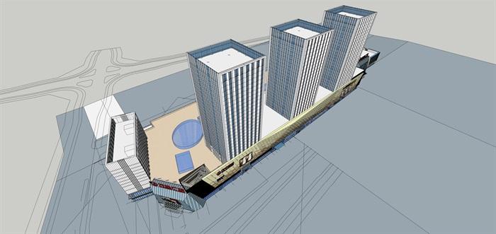 36.办公酒店现代高层塔式办公+商业综合体CAD+SU+效果图+PPT(2)