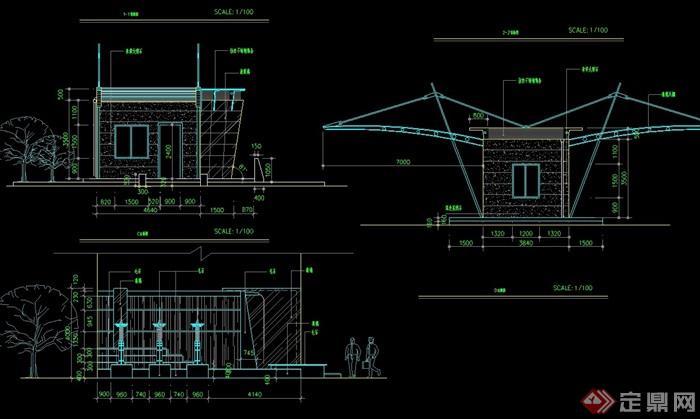 某详细的入口景观及大门素材设计cad施工图