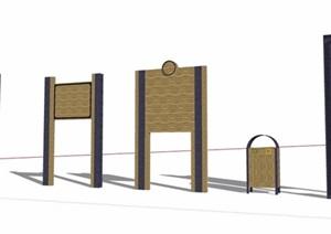 现代风格5款标志牌及垃圾桶SU(草图大师)模型