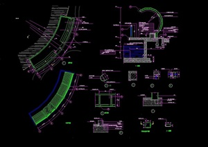 现代弧形廊详细设计cad施工图