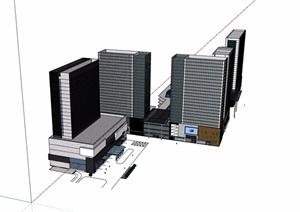 商业综合体+办公建筑楼SU(草图大师)模型