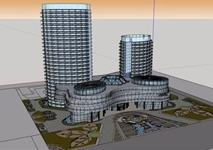 某详细的完整商业办公楼设计SU(草图大师)模型