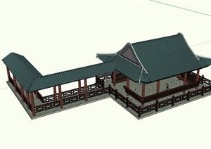 古典中式风格详细的水榭廊亭组合设计SU(草图大师)模型