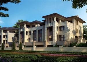新古典风格详细完整的多层别墅设计SU(草图大师)模型带效果图