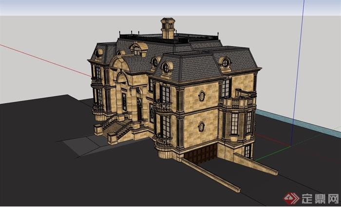 獨棟詳細的完整多層別墅設計su模型