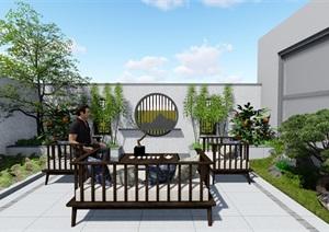 新中式小院子、景墙、花窗