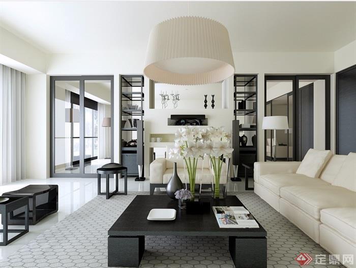 簡單的現代客廳設計3d模型及效果圖