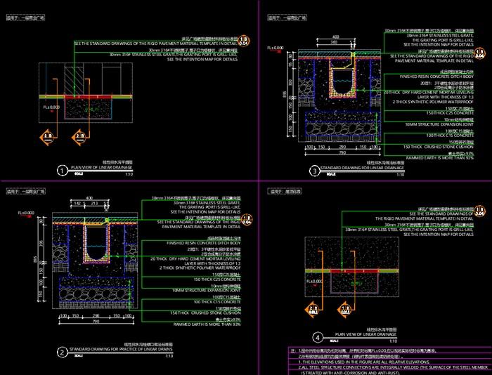 道路、臺階、卵石收邊、花壇收邊、線性排水溝做法標準圖(3)