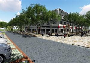 美丽乡村商业街方案全套模型及效果图