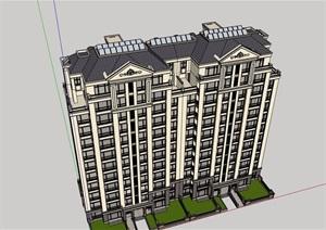 美式详细的完整住宅楼建筑SU(草图大师)模型