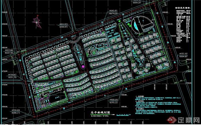 某現代居住小區規劃設計cad總平面圖