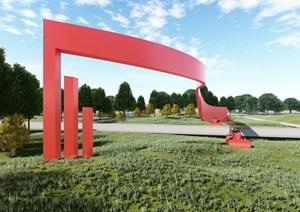 鄉間紅色景觀門效果圖模型SU(草圖大師),rhino,CAD,lumion文件
