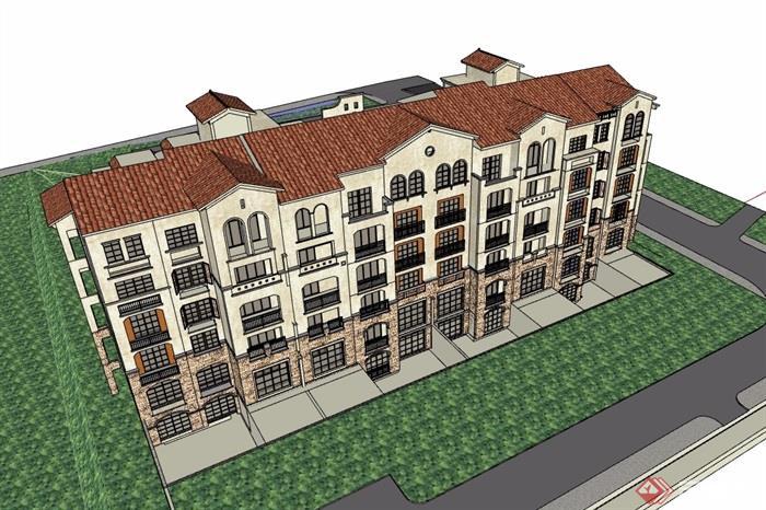 某整體詳細的歐式六層住宅樓su模型