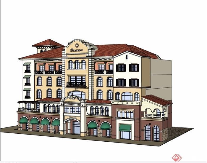 地中海式6層商住樓設計su模型