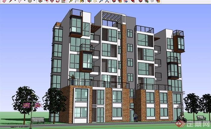 現代風格六層花園洋房建筑樓設計su模型
