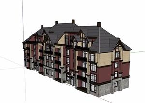 美式多层详细完整小区居住建筑楼设计SU(草图大师)模型