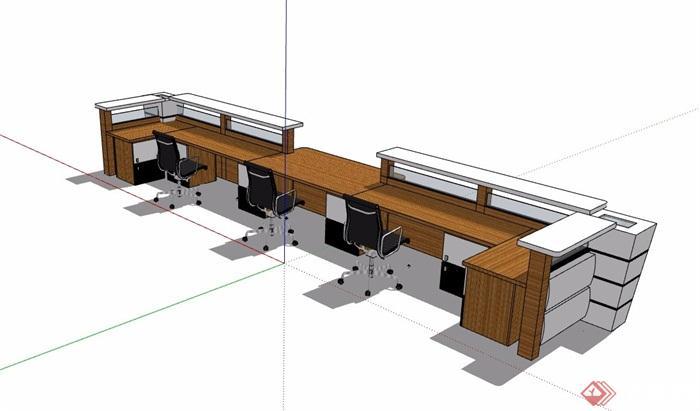 接待用服务台办公桌椅素材设计su模型