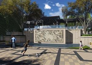 新中式景观步道游廊廊架