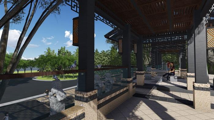 新中式景观步道廊架(3)