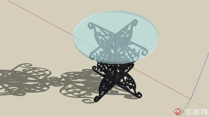 欧式独特详细的玻璃桌素材设计su模型