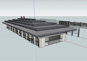 某详细的东站建筑设计SU(草图大师)模型及cad方案
