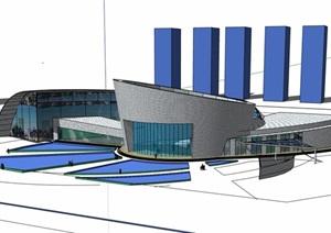 详细的独特完整车站素材设计SU(草图大师)模型