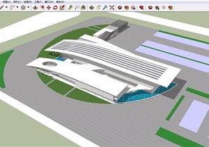 某整体详细的汽车站设计SU(草图大师)模型