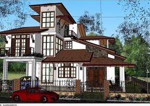 精细的欧式别墅房子建筑SU(草图大师)模型