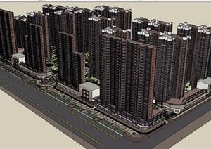 小区楼盘景观及建筑设计SU(草图大师)模型