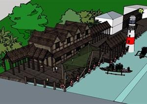 欧式风格详细的多层码头建筑SU(草图大师)模型