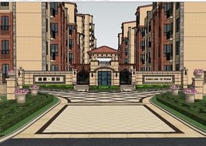 欧式风格小区建设规划建筑SU(草图大师)模型