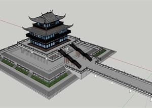 古建筑多层宫殿SU(草图大师)模型