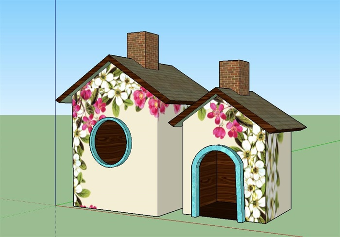 中式风格鸟屋房子su模型