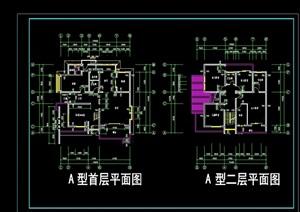 别墅两套建筑设计cad平面图