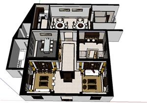 中式風格別墅室內設計SU(草圖大師)模型