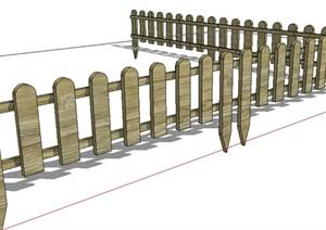 中式风格木栅栏栅栏围栏的SKP模型素材