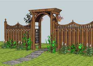 欧式风格栅栏花架的SU(草图大师)模型设计