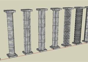 小石柱子SU(草图大师)模型