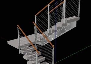 不锈钢剪刀楼梯SU(草图大师)模型