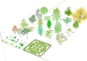 3D灌木、花卉、植被、乔木