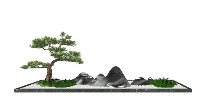 新中式景观小品松树石头su模型(3)