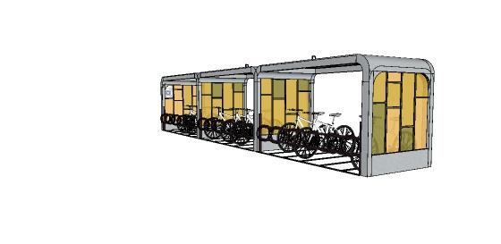 现代自行车停车棚设计su模型(3)