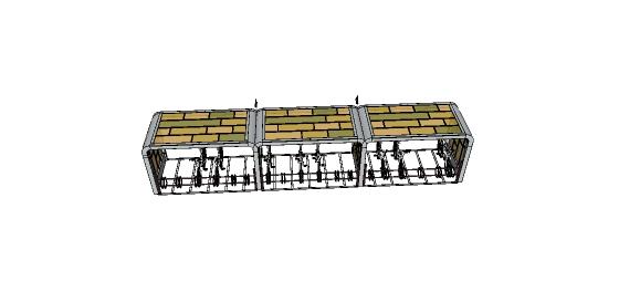现代自行车停车棚设计su模型(2)