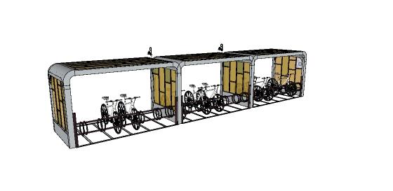 现代自行车停车棚设计su模型(1)