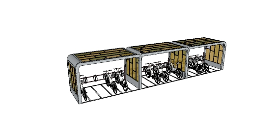现代自行车停车棚设计su模型(4)