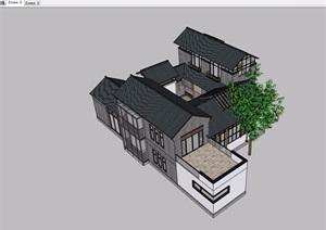 现代中式风格别墅SU(草图大师)模型